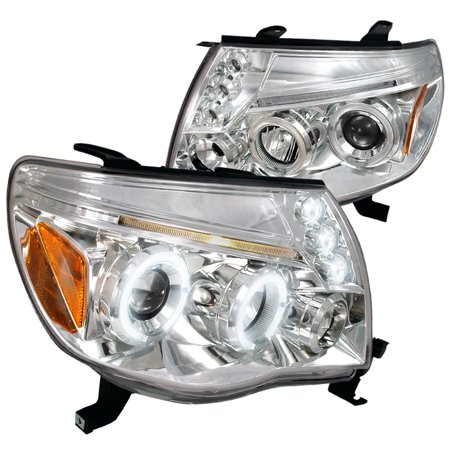 Spec-D Tuning 2002-2011 Toyota Tacoma Led Dual Halo Projector Headlights Lamps 2005 2006 2007 2008 2009 2010 2011 (Left +