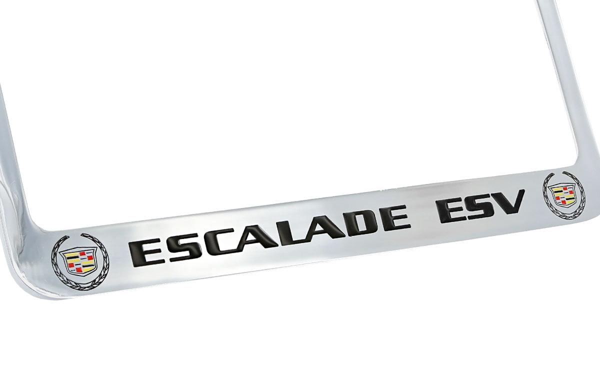 Cadillac Escalade ESV Chrome Plated Brass Metal License Plate Frame Holder