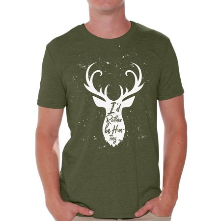 Awkward Styles I'd Rather be Hunting Men's T Shirt Deer Hunting Shirt for Him I Would Rather be Hunting Shirt for Boyfriend Deer Hunting Lovers Gifts Hunter T Shirt for Dad Hunting Tshirt for Men ()