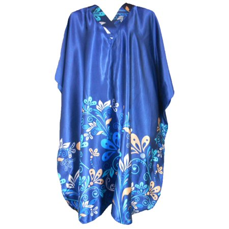 Up2date Fashion's Women's Short Caftan / Kaftan / Muumuu / Mumu, Midnight Dream Floral Vine Print in (Sleeveless Muumuu)