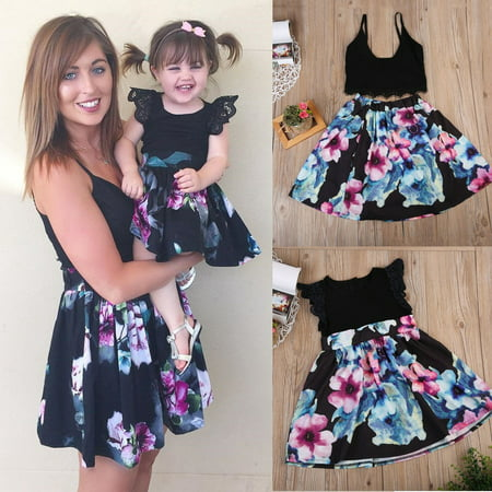Cute Daughter Mother Matching Outfits Floral Kids Dress Women Top+Skirt - Dress Up Outfits For Women