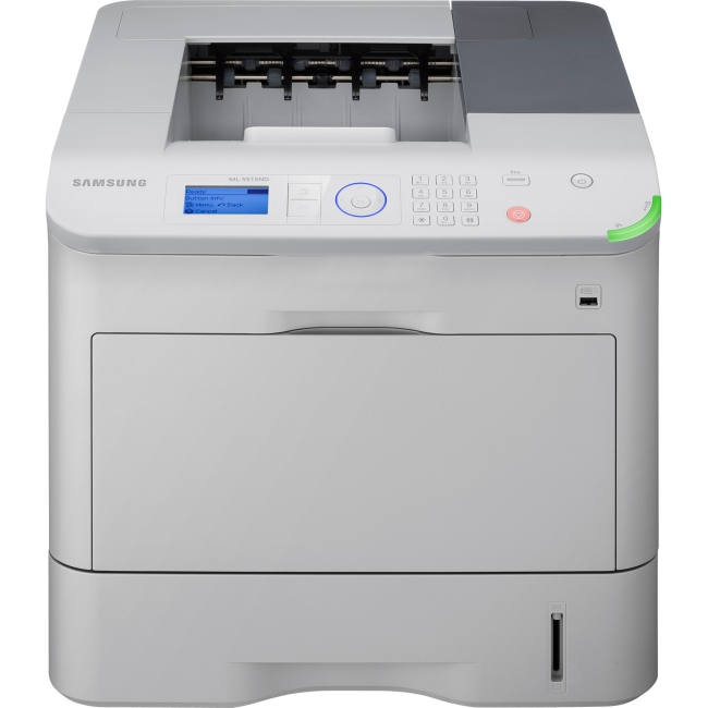 Samsung ML-5515ND Laser Printer - Monochrome - 1200 x 1200 dpi Print - Plain Paper Print - Desktop - 55 ppm Mono Print - 3660 sheets Input - 275000 pages per month - Automatic Duplex Print -