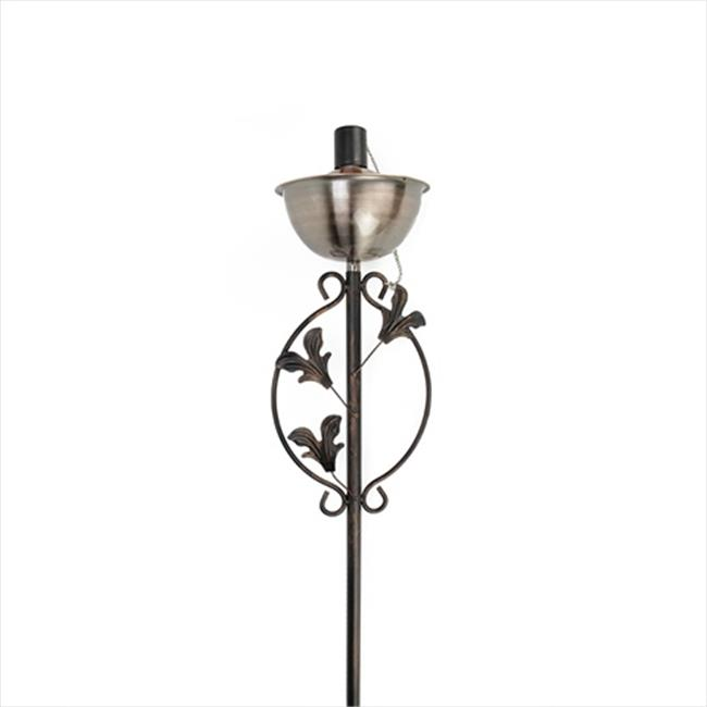 NorthLight 64.5 in. Brushed Copper Floral Motif Garden Oil Lamp Outdoor Patio Torch by