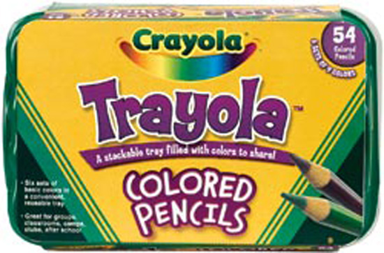 Crayola Trayola Bulk Colored Pencils Set, 54-Count, Storage Tray