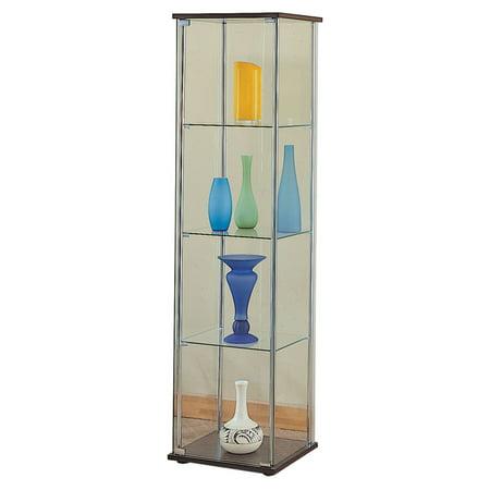 Coaster Company Curio Cabinet, Chrome/Cappuccino