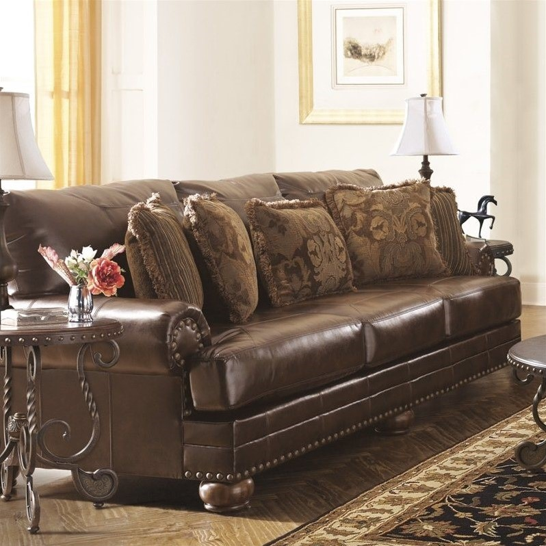 Ashley Furniture Chaling Leather Sofa in Antique Walmart