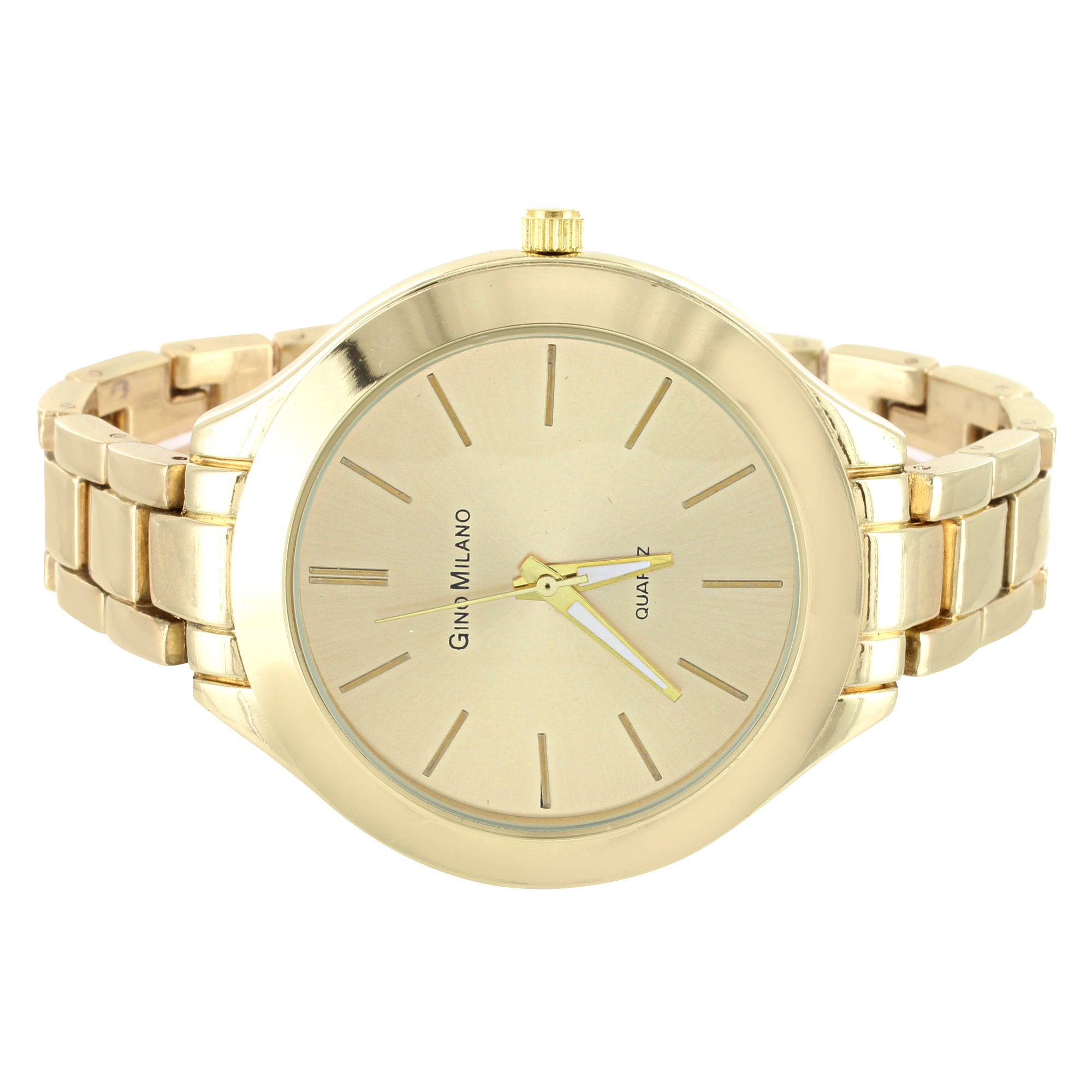 Gold Tone Watch 41mm Stainless Steel Back Womens Gino Milano Ladies Analog