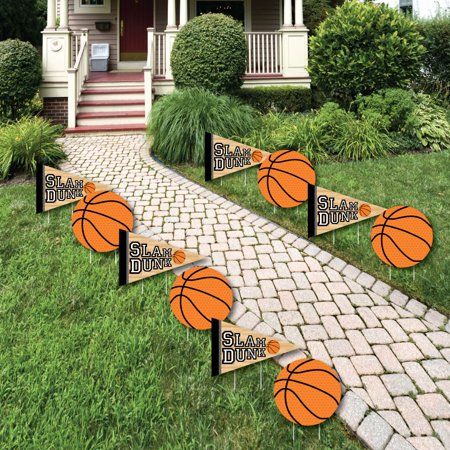 Nothin' But Net - Basketball Lawn Decorations - Outdoor Baby Shower or Birthday Party Yard Decorations - 10 Piece ()
