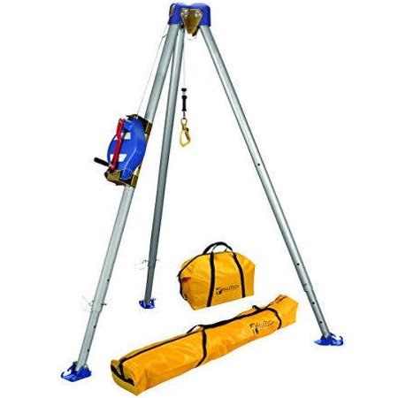 FallTech 7500S Confined Space Tripod Kit - Tripod Kit with 7275 Tripod, 7285S 3-Way SRL, 7280 and 7282 Storage Bags, Stainless Steel Cable