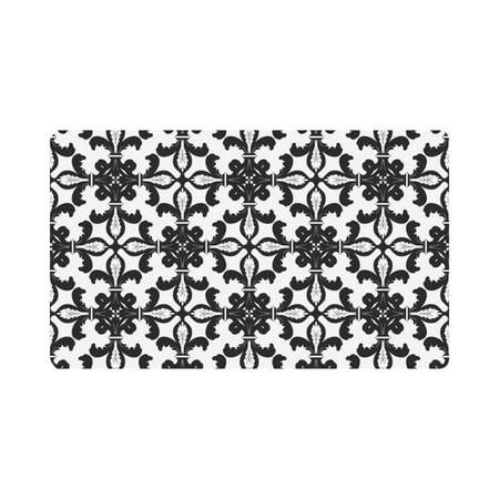 MKHERT Black White Fleur De Lis Floral Art Doormat Rug Home Decor Floor Mat Bath Mat 30x18 inch ()