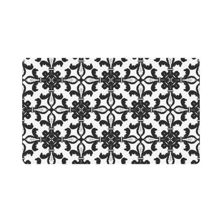 Mkhert Black White Fleur De Lis Floral Art Doormat Rug