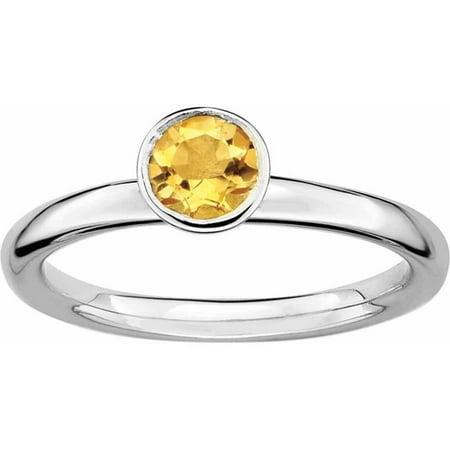 Sterling Silver High 5mm Round Citrine Ring - Ring Eraser