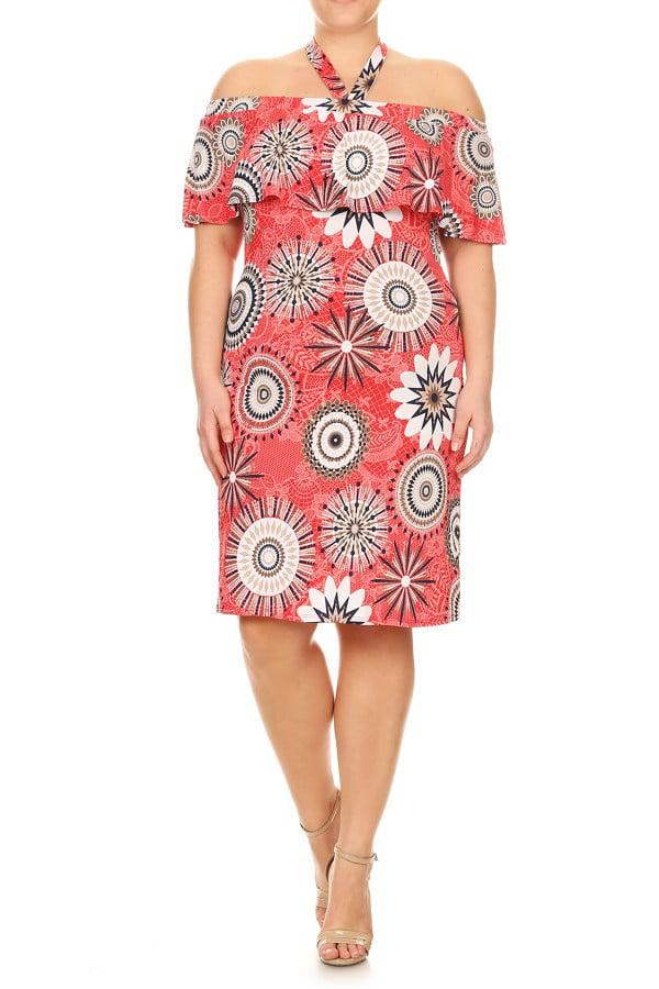 PLUS SIZE Women's off shoulder Print midi Dress
