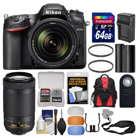 nikon d7200 wi fi digital slr camera 18 140mm vr dx with 70 300mm vr af p lens 64gb card. Black Bedroom Furniture Sets. Home Design Ideas