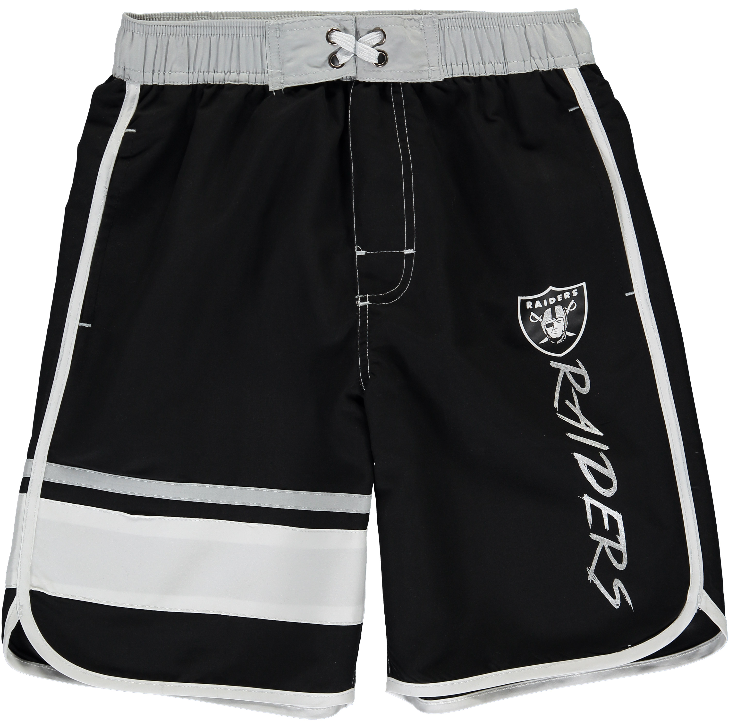 Oakland Raiders Youth Color Block Swim Trunks - Black/White