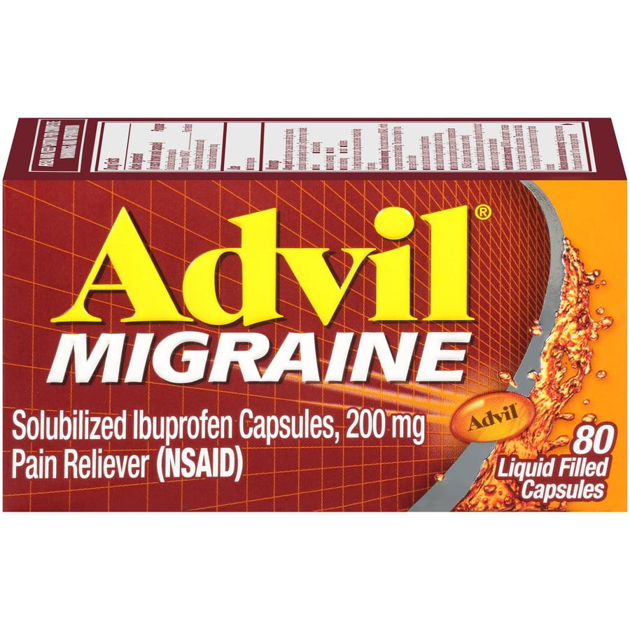 Advil Migraine (80 Count) Pain Reliever Liquid Filled Capsules, 200mg Ibuprofen, 20mg Potassiuim, Migraine Treatment