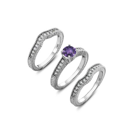 925 Sterling Silver Round Purple Amethyst Set of 3 Fitted Ring 1.29 cttw (Available 5,6,7,8,9) Amethyst Tension Set Ring