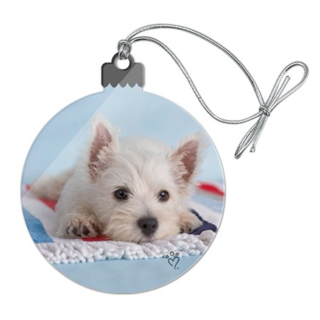 West Highland Terrier Westie Puppy Dog Beach Towel Acrylic Christmas Tree Holiday Ornament ()