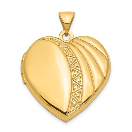 14k Yellow Gold 21mm Heart Photo Pendant Charm Locket Chain Necklace That Holds Pictures