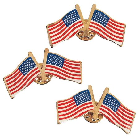 Cp Usa Double Usa American Flag Clutch Pins (1 Dozen) - Bulk