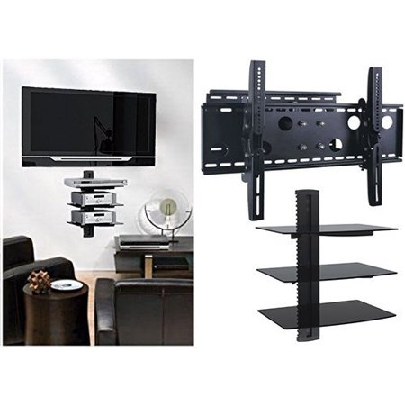 2xhome - Universal TV Wall Mount Tilt and Swivel Full Motion Articulating Single Arm for 35