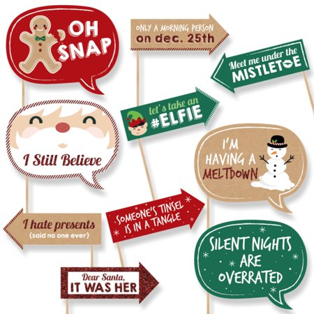 Funny Christmas - Christmas Party Photo Booth Props - 10 Count (Christmas Props For Photo Booth)