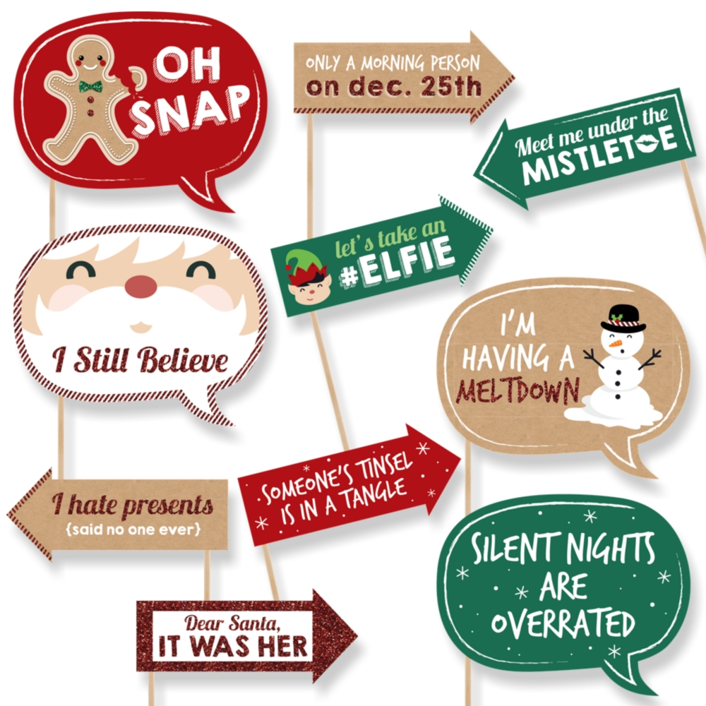Funny Christmas - Christmas Party Photo Booth Props - 10 Count