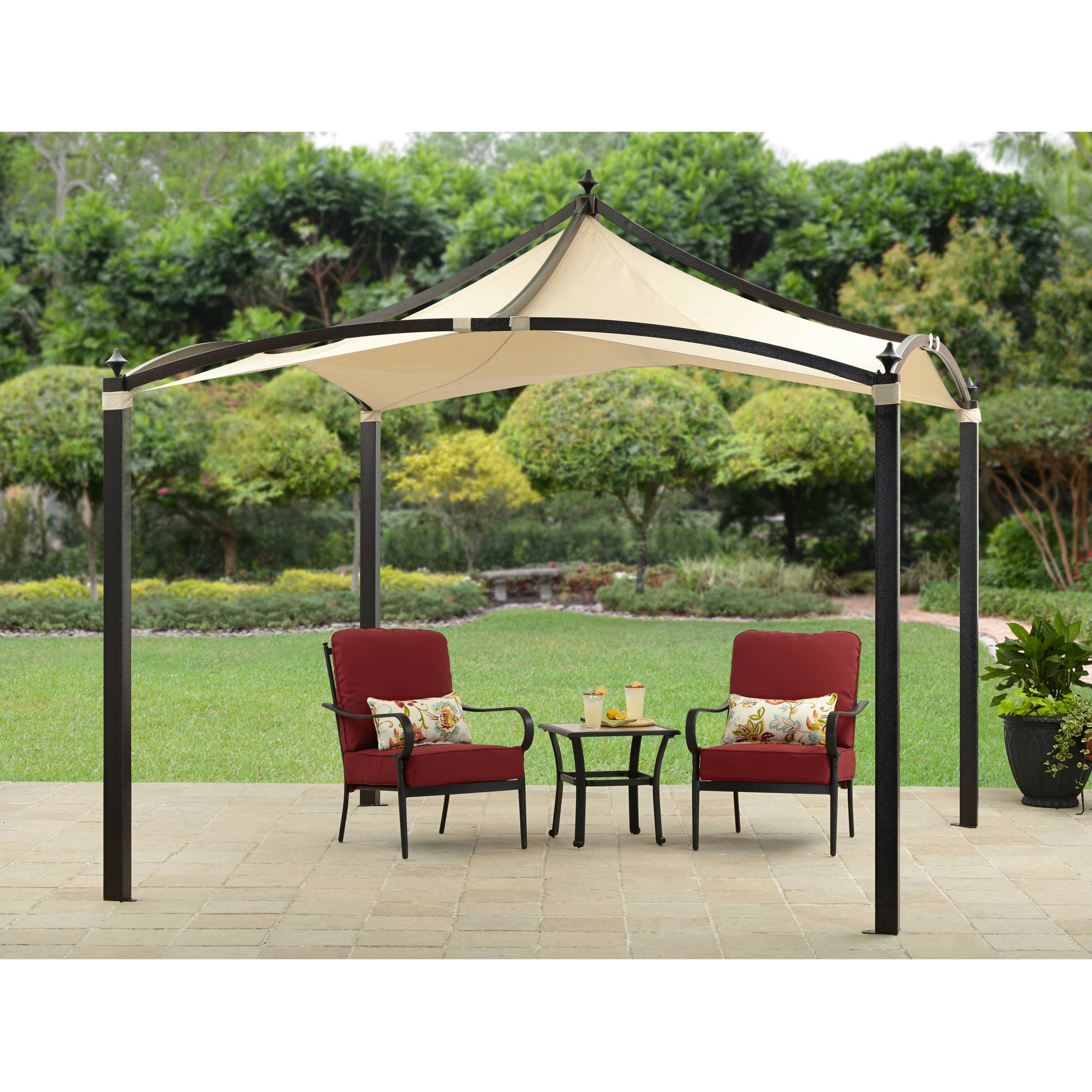 Outsunny 11u0027 Round Outdoor Patio Party Gazebo Canopy W/ Curtains   Orange    Walmart.com
