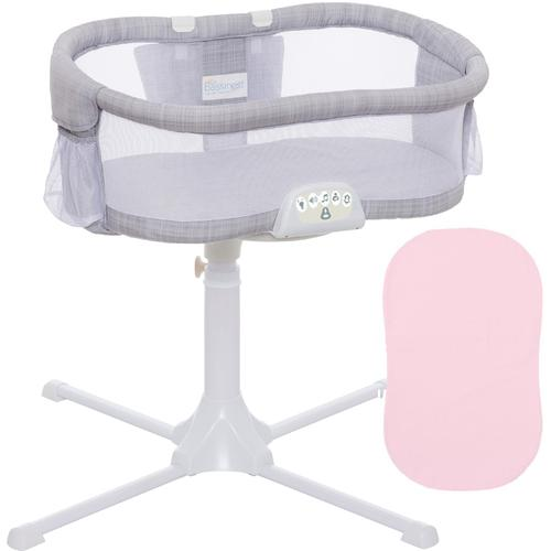 Halo - Swivel Sleeper Bassinet - Luxe PLUS Series - Gray Melange with Pink Fitte