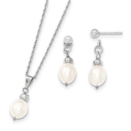 925 Sterling Silver 8mm Freshwater Cultured Pearl Pend Post Stud Earrings Boxed Set Drop Dangle Necklace Pendant - Pearls Pendant Necklace Earrings