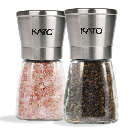 Cherry Wood Pepper Mill - Kato Manual Salt and Pepper Grinder Set, Stainless Steel Top & Glass Body Ceramic Pepper Mills for Himalayan Salt, Pepper and Spices, 2 Pack