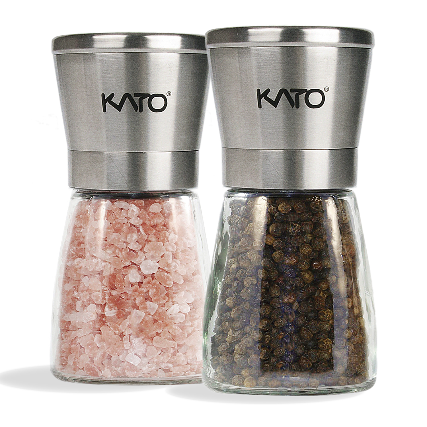 Kato Manual Salt and Pepper Grinder Set, Stainless Steel Top & Glass Body Ceramic Pepper Mills for Himalayan Salt, Pepper and Spices, 2 Pack