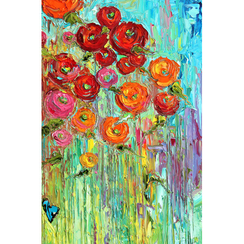HDC International 'Painted Flowers' Painting Print on Wrapped Canvas