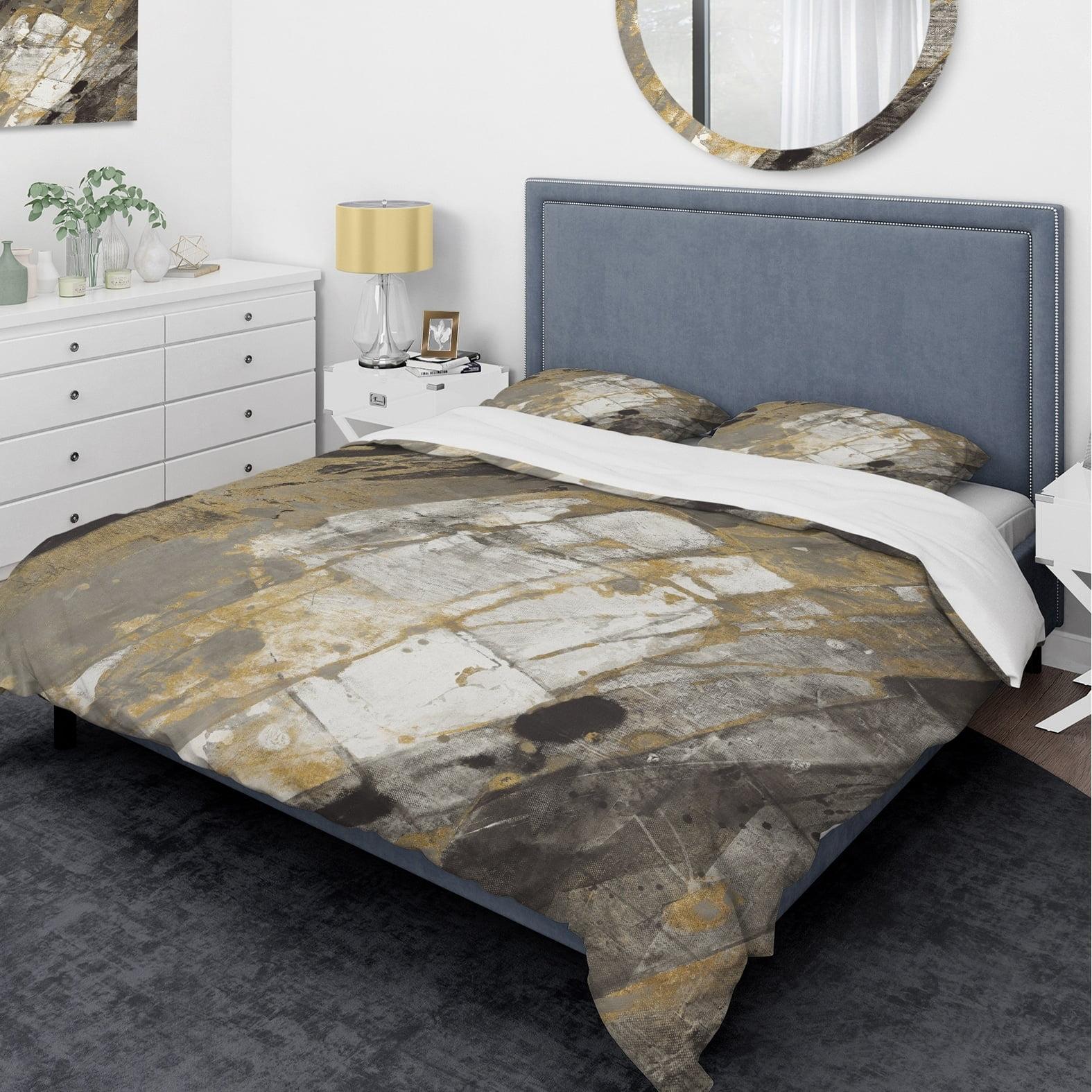 DESIGN ART Designart 'Gold, Black and White Hanpainted Abstract' Glam Bedding Set - Duvet Cover & Shams
