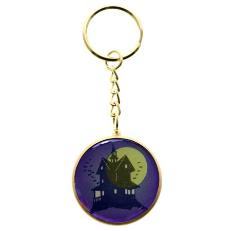 Halloween Haunted Mansion Split-Ring-Keychain Purple/Gold-Tone](Haunted Mansion Magic Kingdom Halloween)