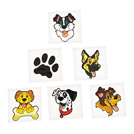 Puppy Dog Party Favor Children's Temporary Tattoos - 72 pcs (Tattoos Games)