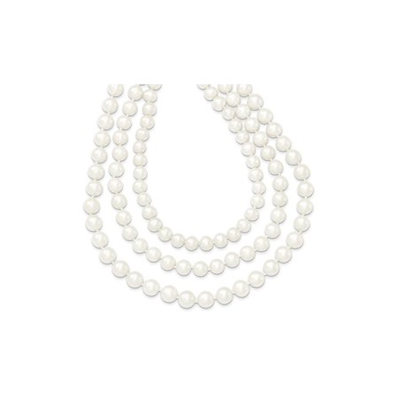 - Triple Strand 8-9mm White Freshwater Cultured Pearl Necklace in 14K Yellow Gold