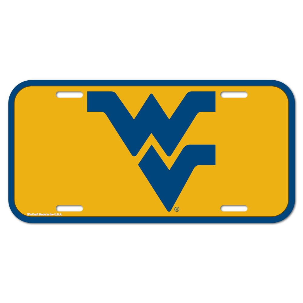 West Virginia Mountaineers Official NCAA 12 inch x 6 inch  Plastic License Plate by WinCraft
