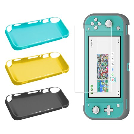 TSV Compatible with Nintendo Switch Lite Screen Protector & Protective Case Accessories Replacements, Flexible TPU Protective Case Cover Shell Precision Cutouts & Transparent HD Screen Protector Film Nds Lite Replacement Shell