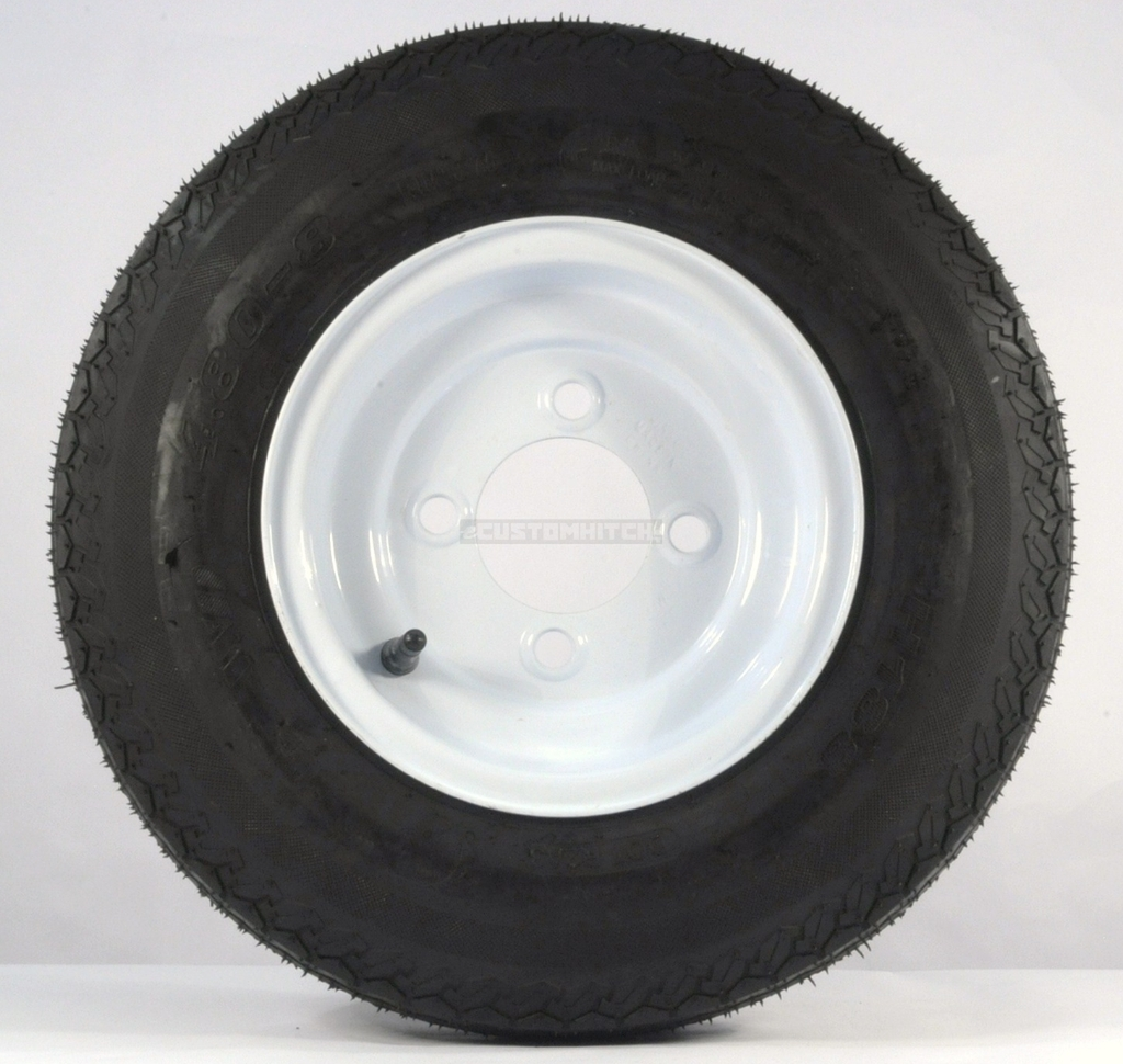eCustomRim 2-Pack Trailer Tire On Rim 480X8 Load C 5 Lug Conventional White