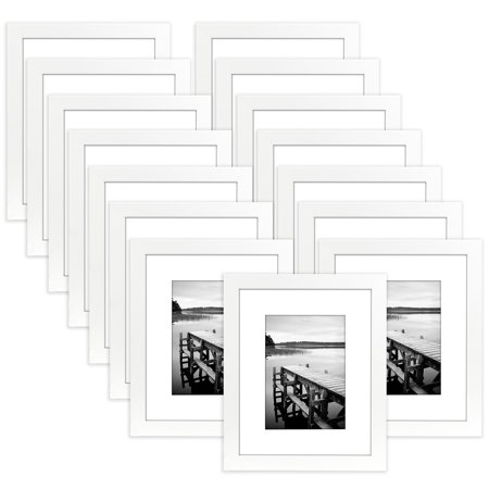 15 Pack - 8x10 White Picture Frames - Displays 5x7 Photos with Mat ...