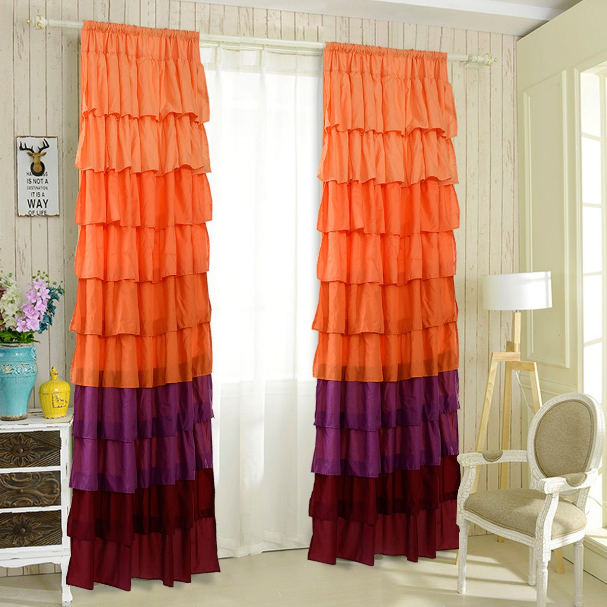 "54"" X 84"" Ruffle Sheer Curtain Panels Drapes Orange"
