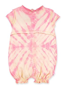 Burt's Bees Baby Girl Organic Peachy Tie-Dye Bubble Romper, One Piece Outfit