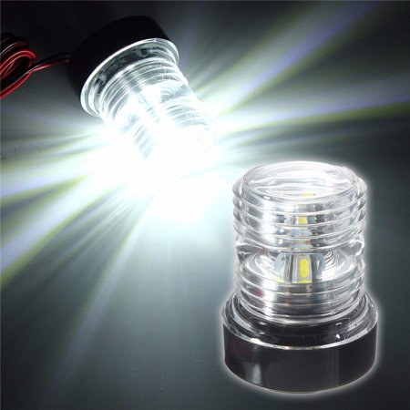 White LED Boat Navigation Light Universal Bright 360 Degrees Round Anchor 12V