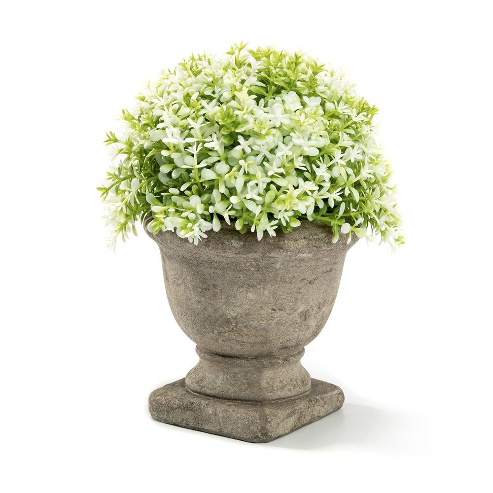 Mini Lifelike Artificial Topiary Fake Green and White Leaves Arrangements with Trophy Design Paper Pulp Pot for Home Decor