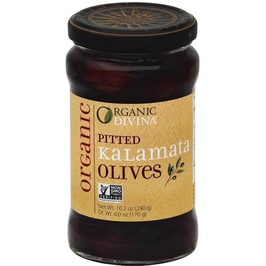 Divina Pitted Kalamata Organic Olives, 6 oz, (Pack of 6) by