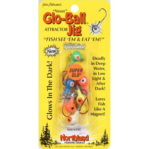 Northland Tackle Glo-Ball Jig, Assorted, 6pk