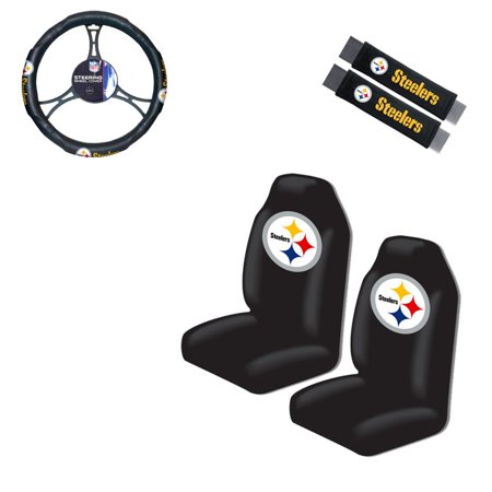 (Pittsburgh Steelers 2 Seat Covers With 2 Shoulder Pads And a Wheel Cover)
