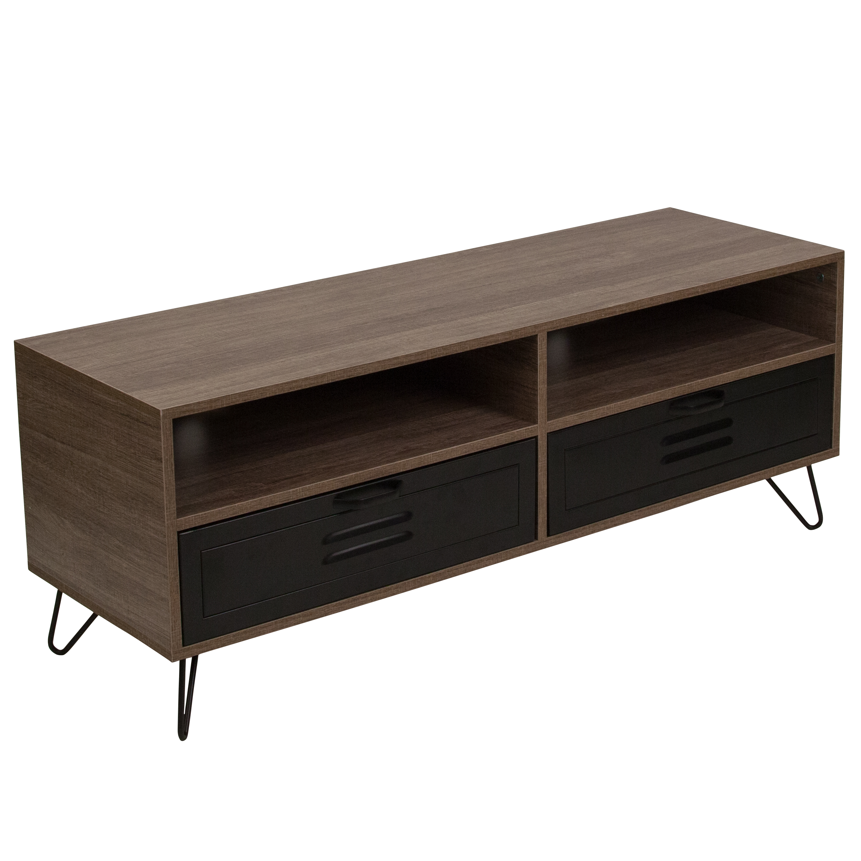 Flash Furniture Woodridge Collection Rustic Wood Grain Finish TV Stand with Metal Drawers and Black Metal Legs