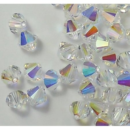 4mm Clear Swarovski Bicone Beads Xillian 144 Piece By Crystal AB Passions Distributor of Swarovski Elements Crystals Made in Austria Xillion Cut 5328 ()